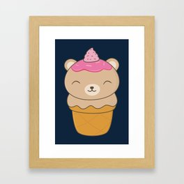 Kawaii Bear Ice Cream Cone Framed Art Print