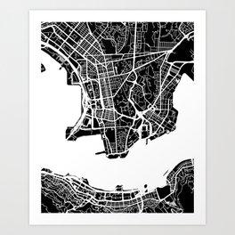 Street MAP Hong Kong // Black&White Art Print