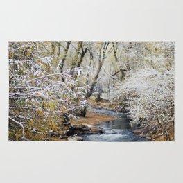 A Creek on a Snowy Day in Boulder, Colorado Rug