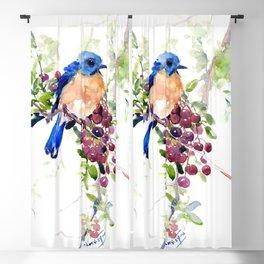 Bluebird and Berries Blackout Curtain