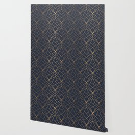 Navy blue Gold Geometric Pattern With White Shimmer Wallpaper