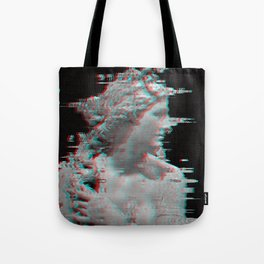 Charcoal Glitch Queen Tote Bag