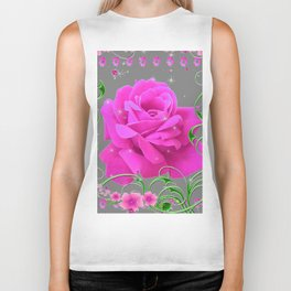 ROMANTIC CERISE PINK ROSE GREY ART RIBBONS Biker Tank