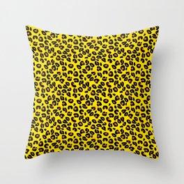 Lemon Yellow Leopard Spots Animal Print Pattern Throw Pillow