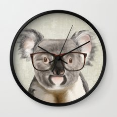 A baby koala with glasses on a rustic background Wall Clock