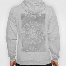 white on gray mandala design Hoody