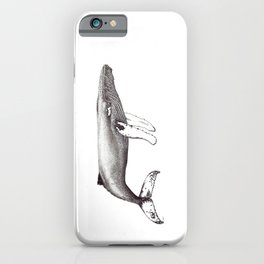 Humpback whale black and white ink ocean decor iPhone Case