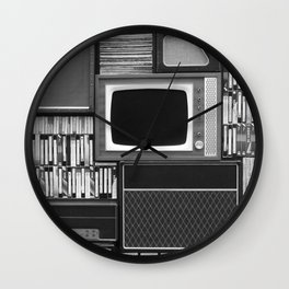 Everything Retro (Black and White) Wall Clock