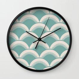 Japanese Fan Pattern Foam Green and Beige Wall Clock