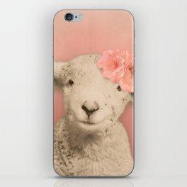Flower Sheep Girl Portrait, Dusty Flamingo Pink Background iPhone Skin