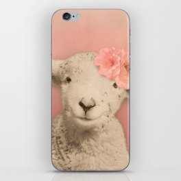 Flower Sheep Girl Portrait, Dusty Flamingo Pink Background iPhone Skin