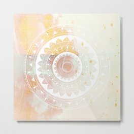 Ukatasana white mandala on pink Metal Print