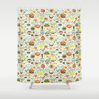 robots Shower Curtains featuring Mustache Robots by kukubee