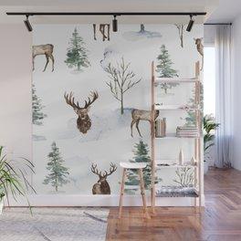 Winter Trees & Deer Pattern Wall Mural