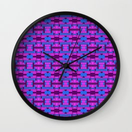 Geometric Elements Pink and Blue Wall Clock