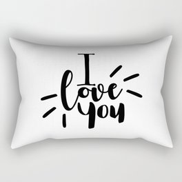 I Love You | Black And White Typography Rectangular Pillow