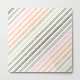 Peach Pink Gray Stripes Metal Print
