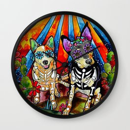 Australian Cattle Dog Sugar Skull Painting Wall Clock