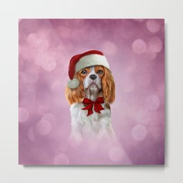 Dog Cavalier King Charles Spaniel in red hat of Santa Claus Metal Print