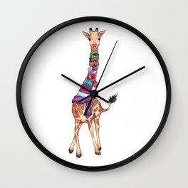 Cold Outside - cute giraffe illustration Wall Clock