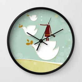 Santa and dove of peace Wall Clock