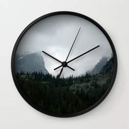 Cloudy Sunsets in the Rockies Wall Clock