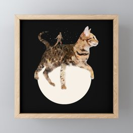 Moon Cat Framed Mini Art Print
