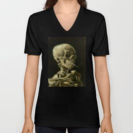 Vincent van Gogh - Skull of a Skeleton with Burning Cigarette Unisex V-Neck
