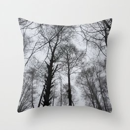 Spooky Trees in the Mountains Throw Pillow
