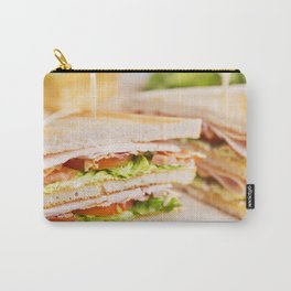 Club sandwich on a rustic table in bright light Carry-All Pouch