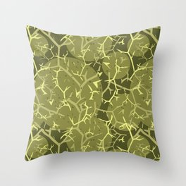 Olive Green Spiky Cactus Pattern Throw Pillow