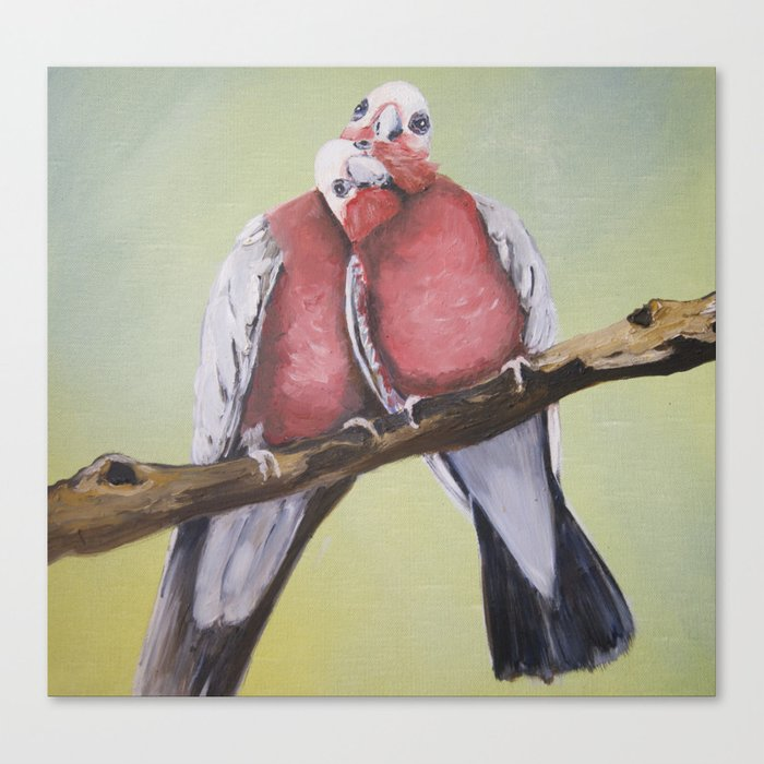 THE LOVING COUPLE A PAIR OF GALAHS  Canvas Print