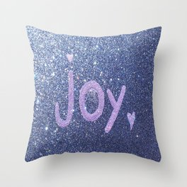 Joy Glitter Card Throw Pillow