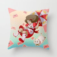 puppycat Throw Pillows featuring Bee and Puppycat by Artist Meli