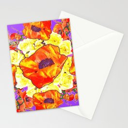 ABSTRACTED ORANGE POPPIES FLORAL LILAC YELLOW Stationery Cards