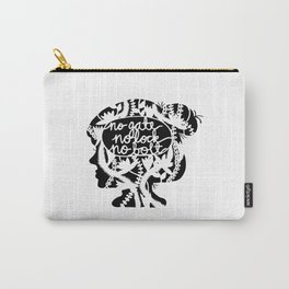 No Gate, No Lock, No Bolt in Black and White Carry-All Pouch