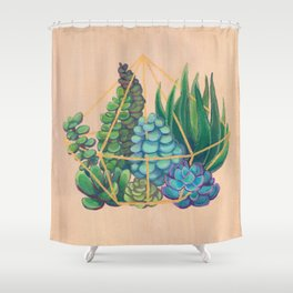 Geometric Terrarium 1 Acrylic on Wood Painting Shower Curtain