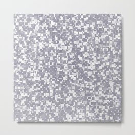 Lilac Gray Pixels Metal Print