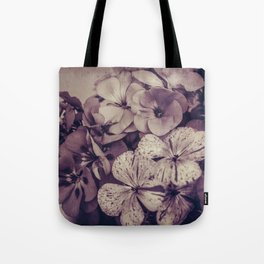 Geraniums -- Monochrome Floral in Aubergine Tote Bag