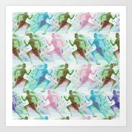 Watercolor women runner pattern Art Print