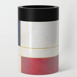 Blue, Red And White With Golden Lines Abstract Painting Can Cooler