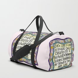 Quilt Quote Pink Duffle Bag