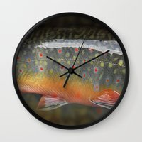 trout Wall Clocks featuring Trout by sorshag
