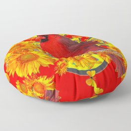 RED CARDINAL YELLOW SUNFLOWERS RED ART Floor Pillow