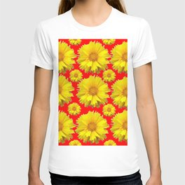 """YELLOW COREOPSIS """"TICK SEED"""" FLOWERS RED PATTERN T-shirt"""