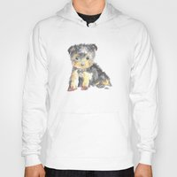 yorkie Hoodies featuring Yorkie Pup by The Painted Lace
