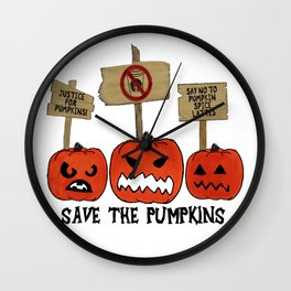 SAVE THE PUMPKINS Wall Clock