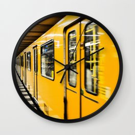 Berlin tube I U-Bahn I Vintage I Yellow colors I Fine art I Photography Wall Clock