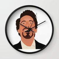 robert downey jr Wall Clocks featuring Robert Downey Jr. by Kaylabeaisaflea