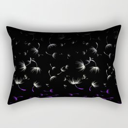 Dandelion Seeds Asexual Pride (black background) Rectangular Pillow